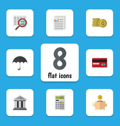 flat exchequer set of document parasol money box vector image