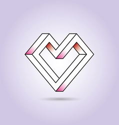 Heart abstract impossible geometric shapes vector image vector image