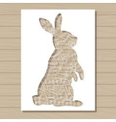 stencil template of rabbit on wooden background vector image vector image