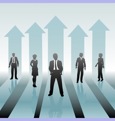 business people team on move up arrows vector image