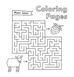 Cartoon sheep maze game vector