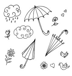 doodles of umbrellas of clouds of flowers vector image vector image