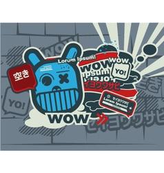 graffiti blue character vector image vector image