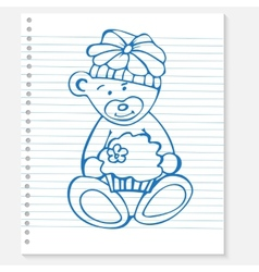 Sketch bear with cake on a notebook vector image