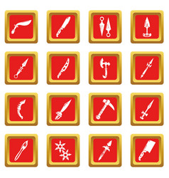steel arms items icons set red square vector image