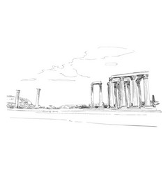 Temple of olympian zeus athens greece europe vector