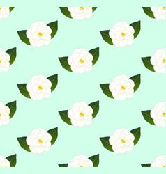 white camellia flower seamless on green mint vector image
