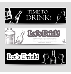Drink party horizontal banners set vector image