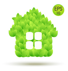 eco house logo house from green leaves vector image