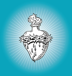 Heart of Blessed Virgin Mary tattoo vector image vector image