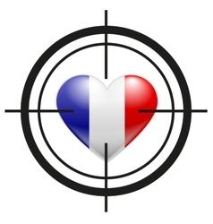 Heart of france flag at gunpoint terrorism vector