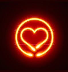 neon heart signboard on the red background vector image