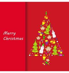 Postcard Merry Christmas vector image vector image