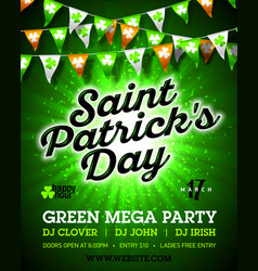 saint patricks day green mega party invitation vector image