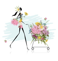 Woman with floral trolley for your design vector image vector image