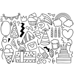 0013 hand drawn party doodle happy birthday vector