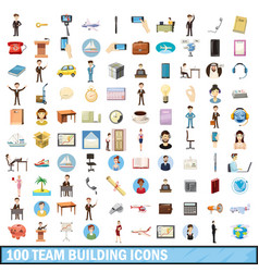 100 tiam building icons set cartoon style vector