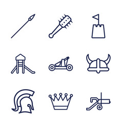 9 medieval icons vector