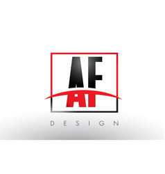 Af a f logo letters with red and black colors vector