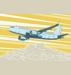 Air transport passenger aircraft flying above vector