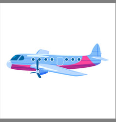 airplane jet cargo cartoon red colour side view vector image