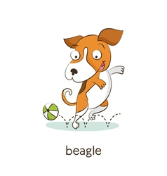 Beagle Dog character isolated on white vector
