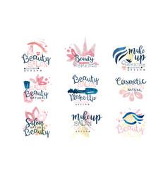beauty salon logo design set colorful hand vector image