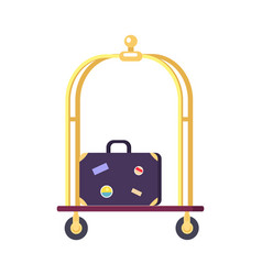 bellman s cart with bag icon vector image