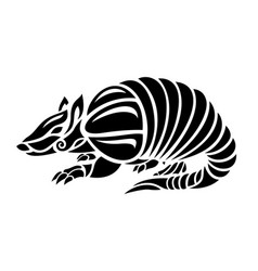 Black and white tattoo art with stylized armadillo vector
