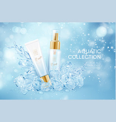 bottles cosmetics in icy transparent clear vector image