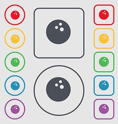 Bowling game ball icon sign symbol on the round vector