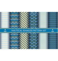 boys nautical seamless patterns vector image