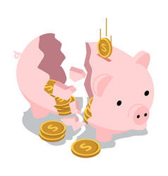 Break piggy bank isometric with falling coin vector