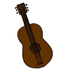 brown guitar on white background vector image