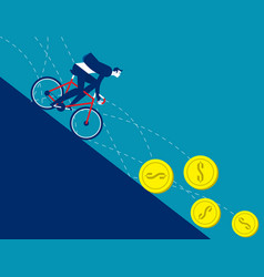 business men ride bicycle on coins that fall vector image