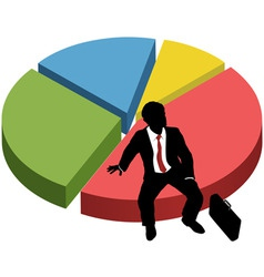 business silhouette sit market share chart vector image