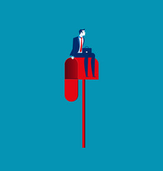 Businessman sitting on a mailbox concept business vector