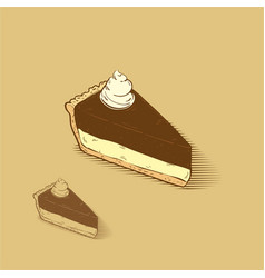 Cheese cake with chocolate and cream on the top vector
