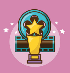 Cinema trophy over pink background design vector