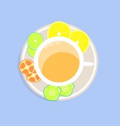 Citrus tea on a blue background vector