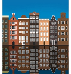 City buildings on the river bank vector