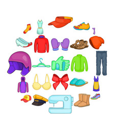 clothing repair icons set cartoon style vector image
