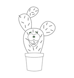 colorless cartoon cactus vector image