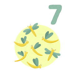 Counting from 1 to 10 number 7 page with colorful vector