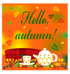 cozy autumn with plaid kettle and vector image