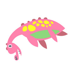 cute funny pink dinosaur lying prehistoric animal vector image vector image