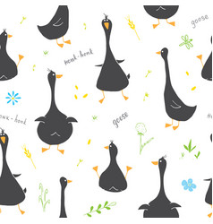 cute goose seamless pattern cartoon hand drawn vector image
