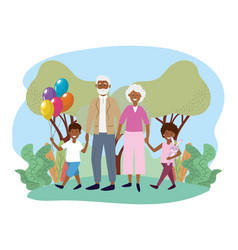Cute grandparents with their happy kids vector