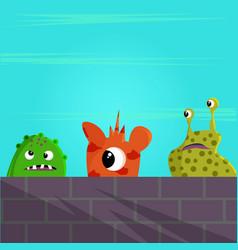 Cute monster behind a brick wall vector
