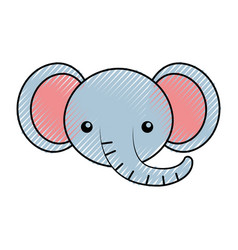 Cute scribble elephant face cartoon vector